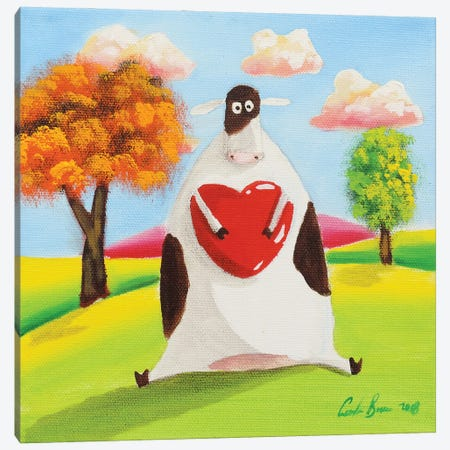 Cow With A Heart Canvas Print #GOB30} by Gordon Bruce Canvas Wall Art