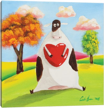 Cow With A Heart Canvas Art Print