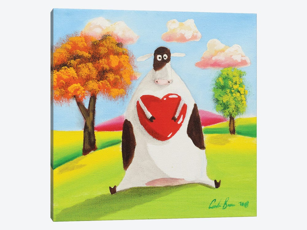 Cow With A Heart by Gordon Bruce 1-piece Canvas Wall Art