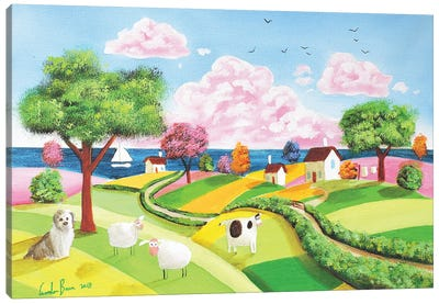 Folk Art Rolling Hills Canvas Art Print
