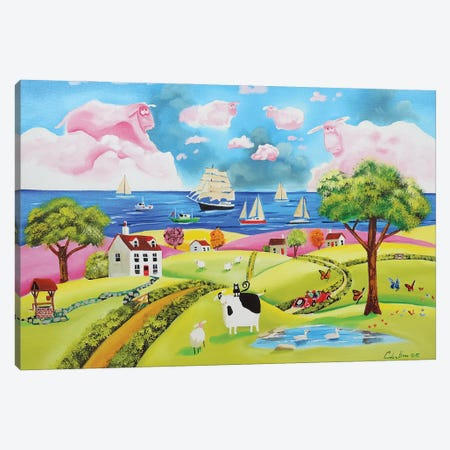 Folk Art Seaside Canvas Print #GOB32} by Gordon Bruce Canvas Artwork