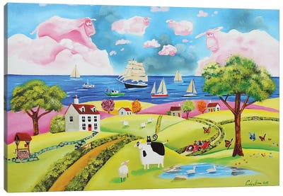 Folk Art Seaside Canvas Art Print