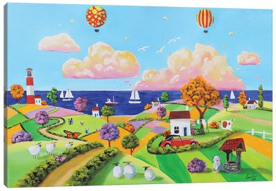 Balloons At The Seaside Canvas Art Print