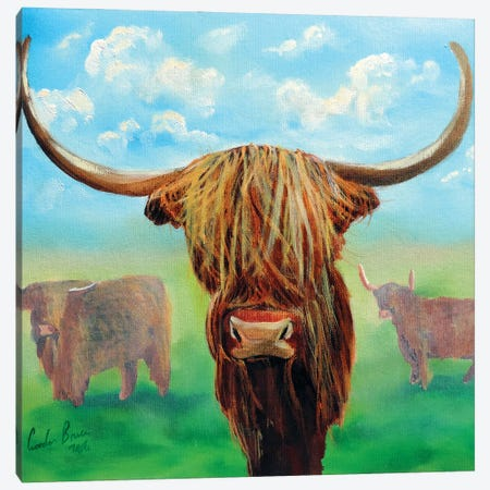 Highland Cows Canvas Print #GOB38} by Gordon Bruce Canvas Wall Art