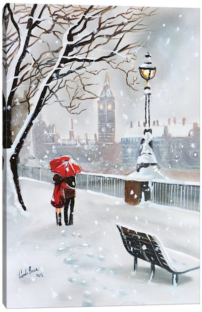 London In Winter Canvas Art Print