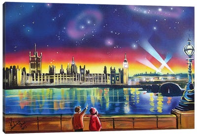 London Thames Starry Night Canvas Art Print