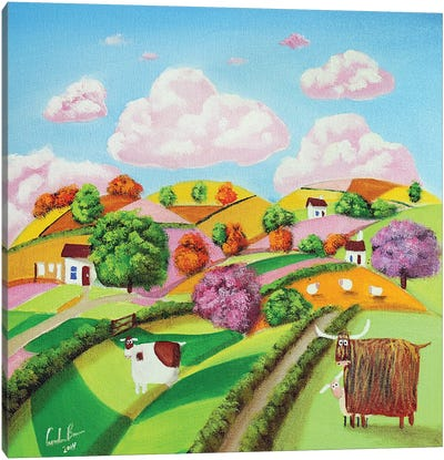 Rolling Hills & Patchwork Fields Canvas Art Print