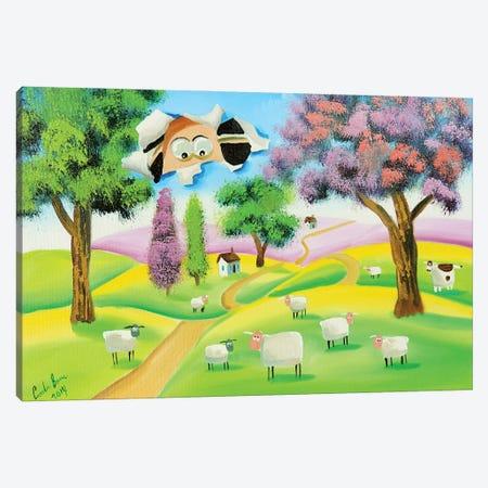 Sheep Through The Canvas Canvas Print #GOB56} by Gordon Bruce Art Print
