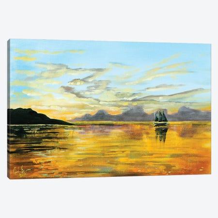 Sunset At Sea Canvas Print #GOB60} by Gordon Bruce Art Print
