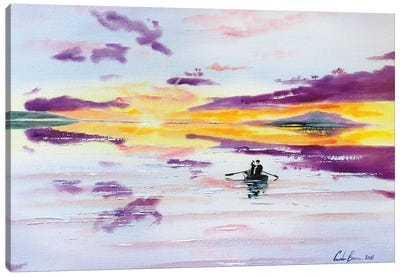 Sunset Boat On The Sea Canvas Art Print