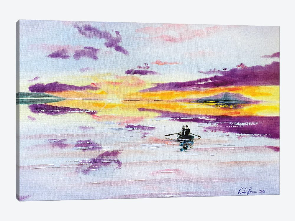 Sunset Boat On The Sea by Gordon Bruce 1-piece Canvas Art
