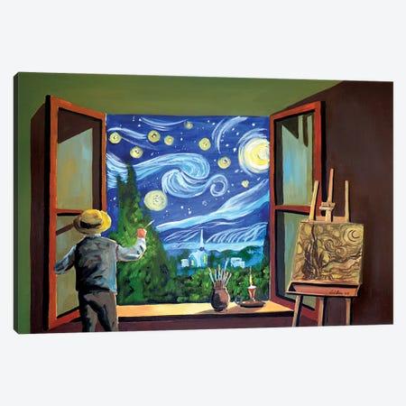 Van Gogh Paints The Starry Night Canvas Print #GOB65} by Gordon Bruce Canvas Art