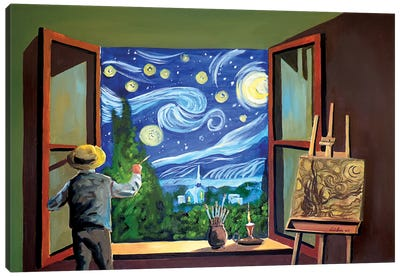 Van Gogh Paints The Starry Night Canvas Art Print