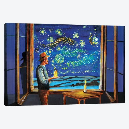 Van Gogh Starry Night With Fireflies Canvas Print #GOB66} by Gordon Bruce Canvas Art