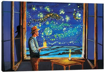 Van Gogh Starry Night With Fireflies Canvas Art Print
