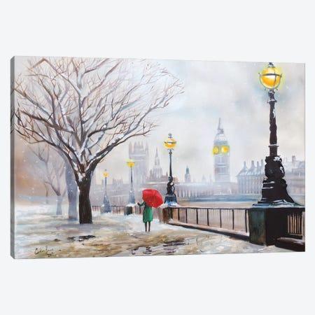 A London Winter Canvas Print #GOB9} by Gordon Bruce Art Print