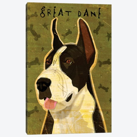 Great Dane - Black & White Canvas Print #GOL111} by John Golden Canvas Wall Art