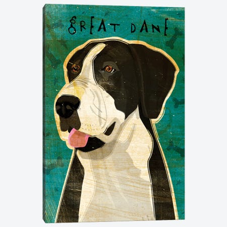 Great Dane - Black & White, No Crop Canvas Print #GOL112} by John Golden Canvas Art