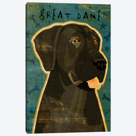 Great Dane - Black, No Crop Canvas Print #GOL113} by John Golden Canvas Wall Art