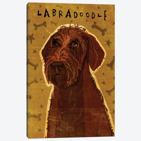 Labradoodle - Chocolate 3-Piece Canvas #GOL139} by John Golden Canvas Wall Art