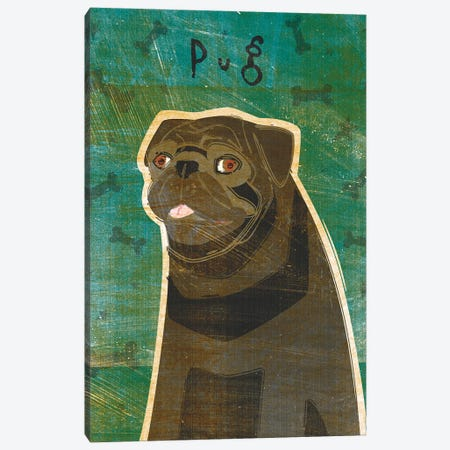 Pug - Black Canvas Print #GOL214} by John Golden Canvas Wall Art