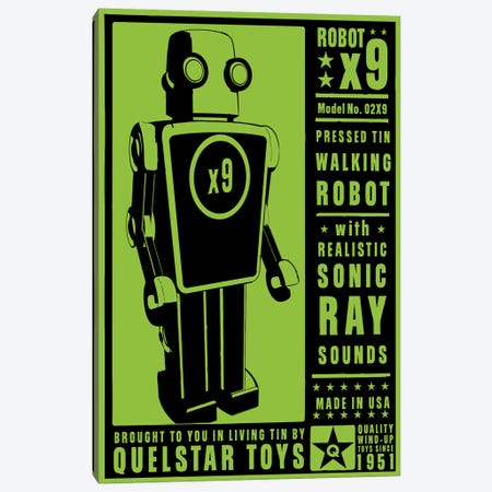 Quelstar X9 Tin Toy Robot Canvas Print #GOL219} by John Golden Art Print