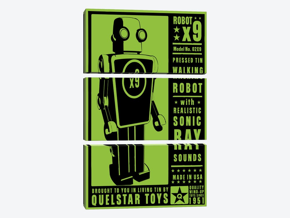 Quelstar X9 Tin Toy Robot 3-piece Canvas Wall Art