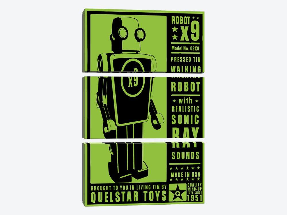 Quelstar X9 Tin Toy Robot by John Golden 3-piece Canvas Wall Art