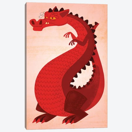 Red Dragon Canvas Print #GOL222} by John Golden Canvas Wall Art