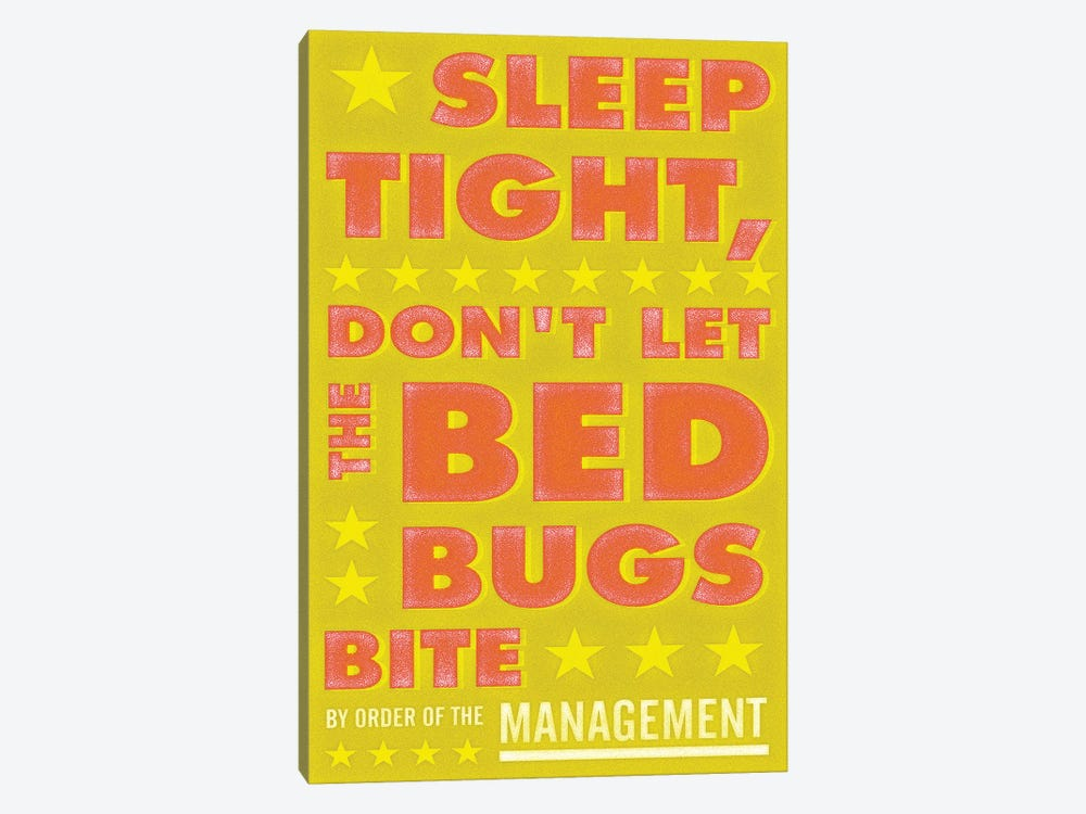 Sleep Tight, Don't Let The Bed Bugs Bite - Green & Orange by John Golden 1-piece Canvas Artwork