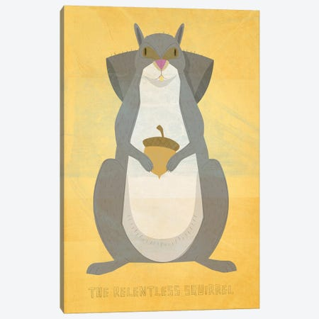 The Relentless Squirrel Canvas Print #GOL272} by John Golden Canvas Print