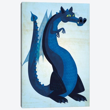 Blue Dragon Canvas Print #GOL30} by John Golden Canvas Wall Art