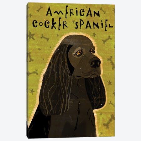 American Cocker Spaniel - Black Canvas Print #GOL4} by John Golden Canvas Artwork
