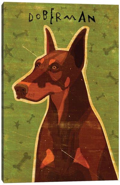 Doberman - Red Canvas Art Print
