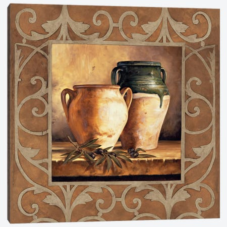 Vases With Olives Canvas Print #GON10} by Andres Gonzales Canvas Wall Art