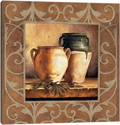 Vases With Olives Canvas Print #GON10
