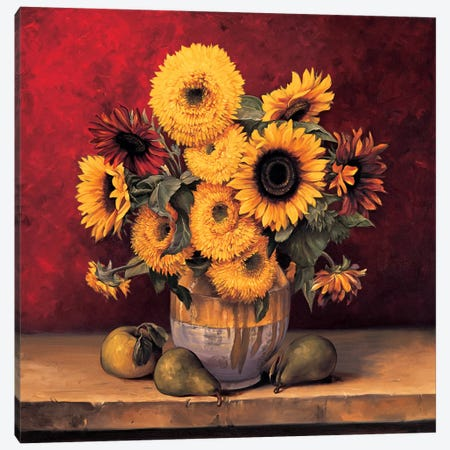 Sunflowers With Pears Canvas Print #GON7} by Andres Gonzales Canvas Artwork