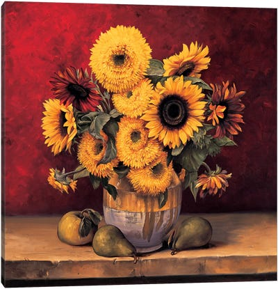 Sunflowers With Pears Canvas Art Print
