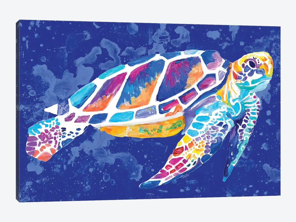 Vibrant Blue Sea Turtle by Chelsea Goodrich 1-piece Canvas Print