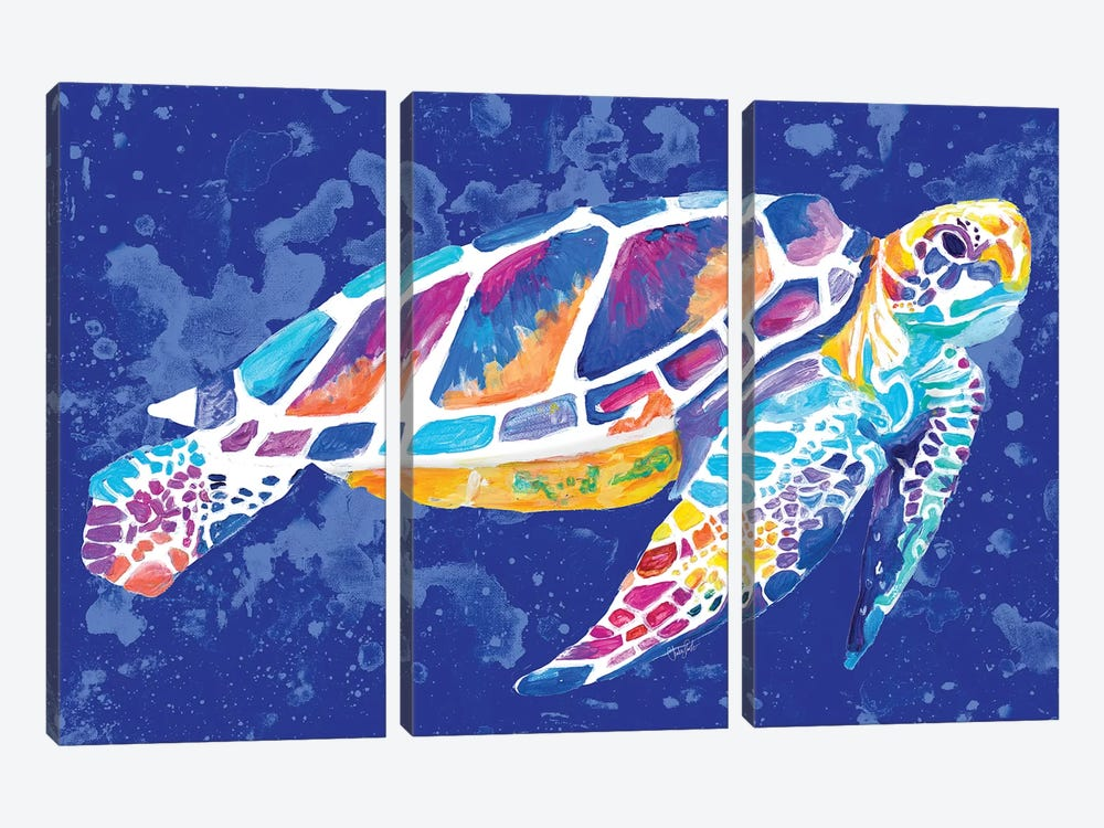 Vibrant Blue Sea Turtle by Chelsea Goodrich 3-piece Canvas Art Print