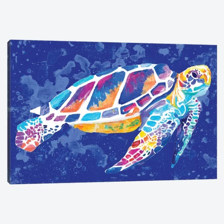 Vibrant Blue Sea Turtle Canvas Print #GOO5} by Chelsea Goodrich Canvas Print