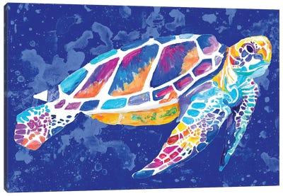 Vibrant Blue Sea Turtle Canvas Art Print