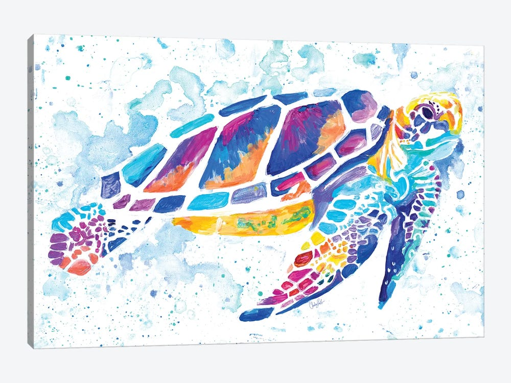 Vibrant Sea Turtle by Chelsea Goodrich 1-piece Canvas Art Print