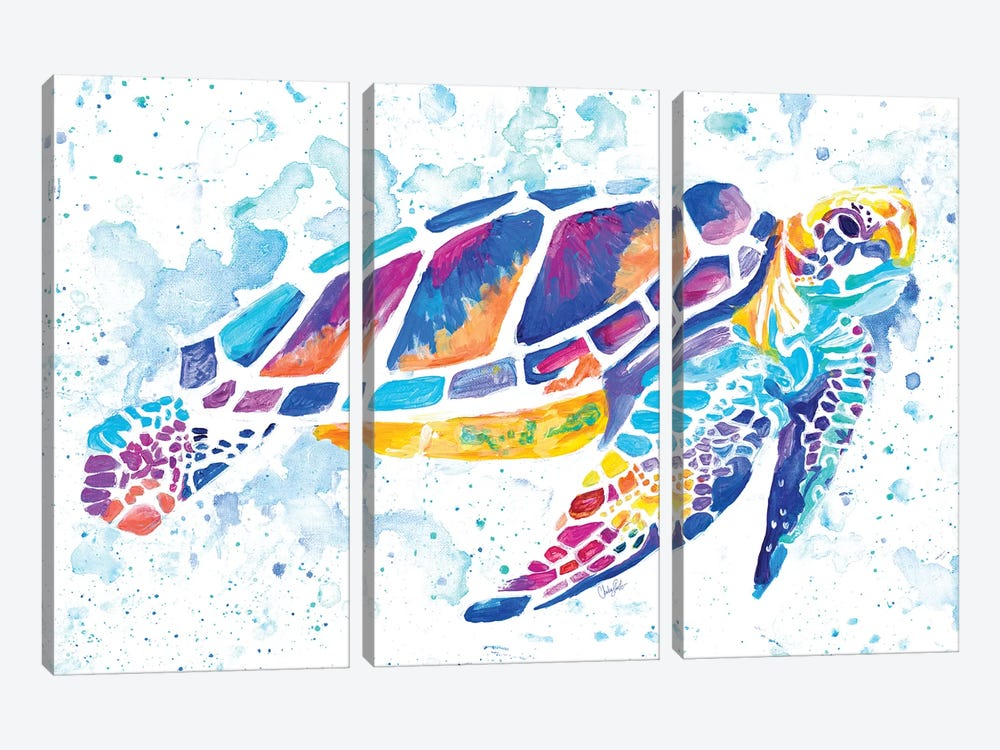 Vibrant Sea Turtle by Chelsea Goodrich 3-piece Canvas Art Print
