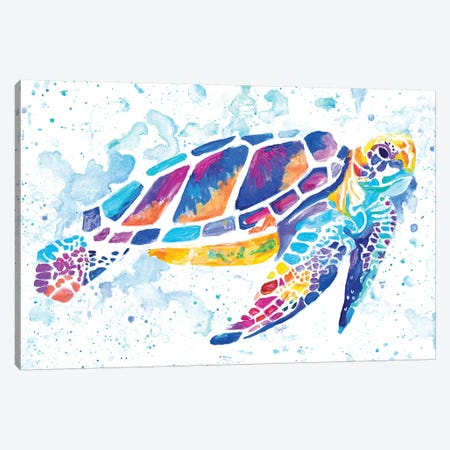 Vibrant Sea Turtle Canvas Print #GOO7} by Chelsea Goodrich Canvas Art Print