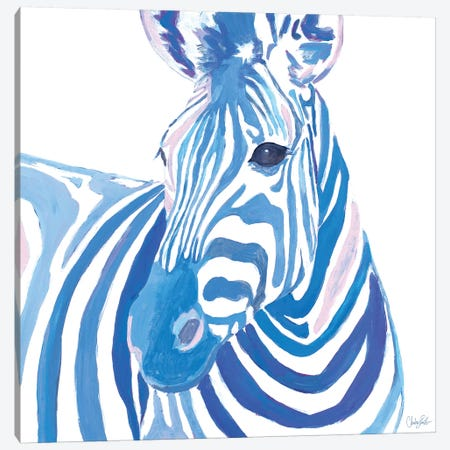 Vibrant Zebra Canvas Print #GOO8} by Chelsea Goodrich Canvas Wall Art