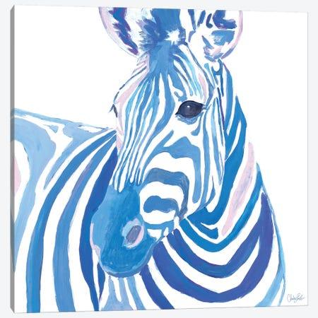 Vibrant Zebra Canvas Print #GOO8} by Chelsea Goodrich Canvas Wall Art