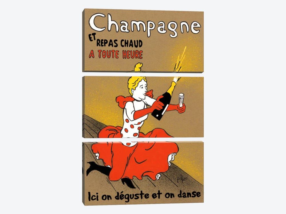 Hommage à Lautrec by Jean-Pierre Got 3-piece Canvas Art