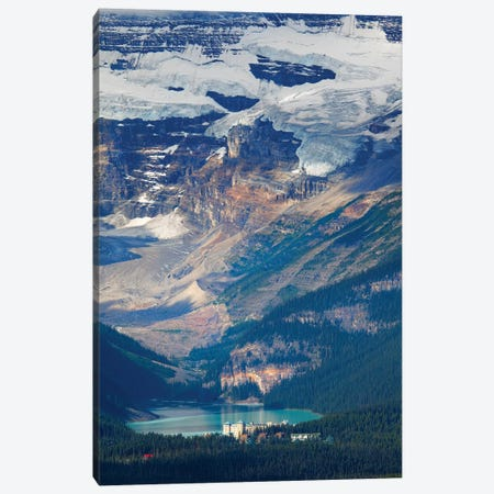 High Angle View of Lake Louise with the Victoria Glacier and Hotel, Alberta, Canada Canvas Print #GOZ100} by George Oze Canvas Art