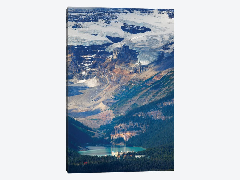 High Angle View of Lake Louise with the Victoria Glacier and Hotel, Alberta, Canada by George Oze 1-piece Canvas Artwork